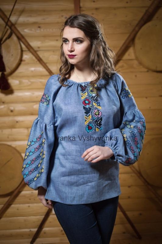 М0340 Голубой высококачественный лен Вышиванка Иванка - фото 1