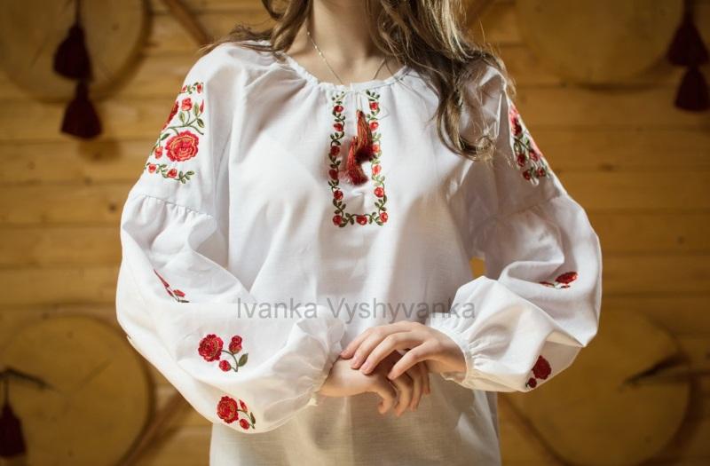М0326 Белый лен 100% Вышиванка Иванка - фото 2