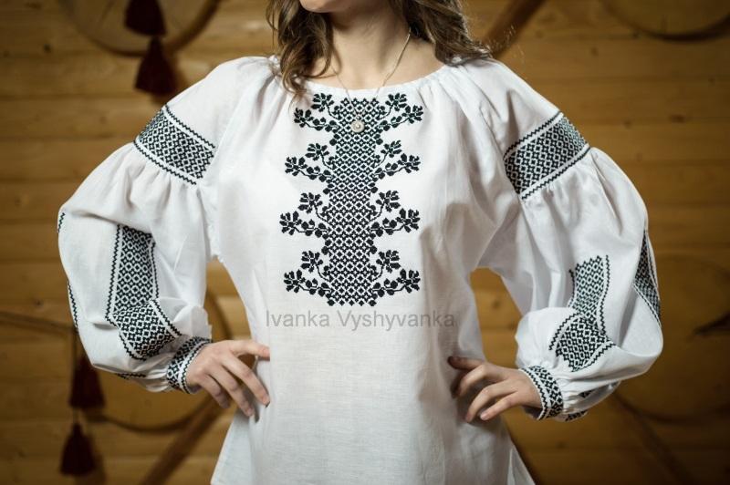 М0349 Белый высококачественный лен Вышиванка Иванка - фото 1