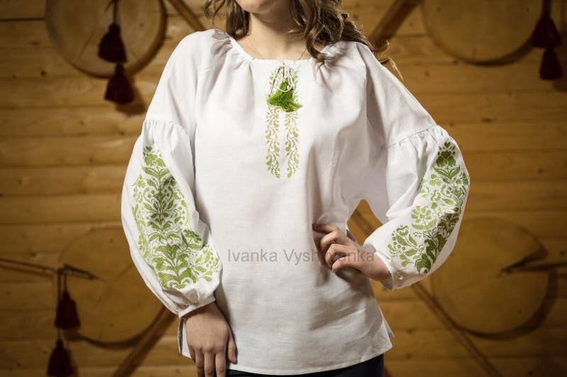 М0336 Белый лен 100% Вышиванка Иванка - фото 2