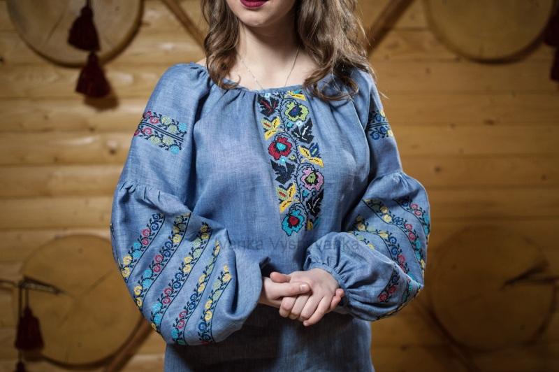 М0340 Голубой высококачественный лен Вышиванка Иванка - фото 2