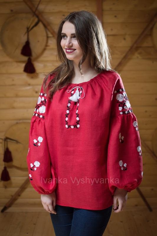 М0334 Красный лен 100% Вышиванка Иванка - фото 1