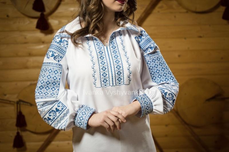 М0350 Белый домотканое полотно Вышиванка Иванка - фото 2