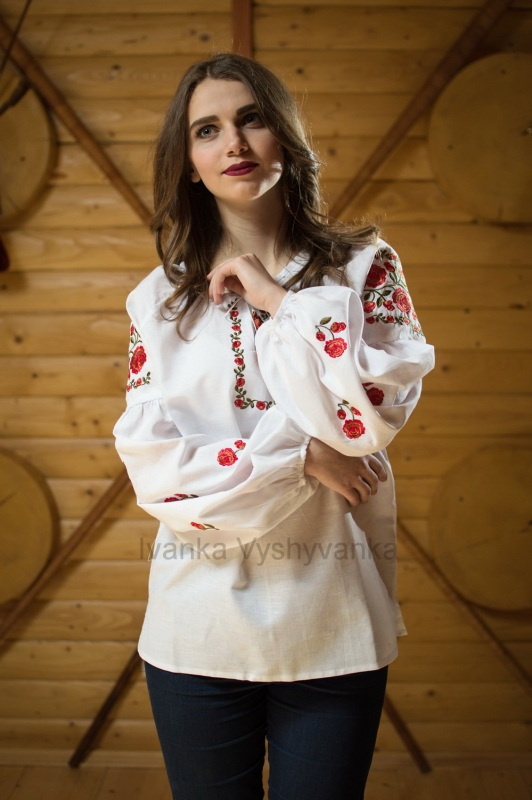 М0326 Белый лен 100% Вышиванка Иванка - фото 1