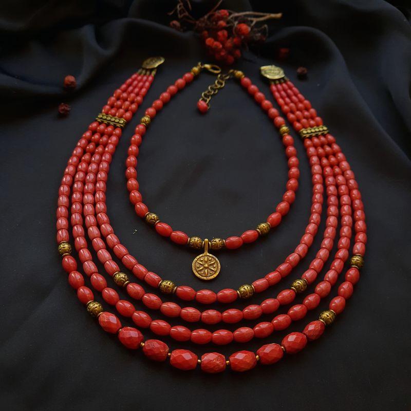"""Два ожерелья """"Кизил"""" Красный коралл """"антик"""" Вит Анастасия - фото 1"""