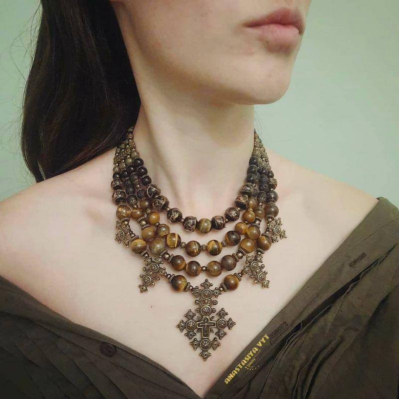 """Ожерелье """"Крематорий золото""""  тигровый глаз, агат, гема Вит Анастасия - фото 1"""