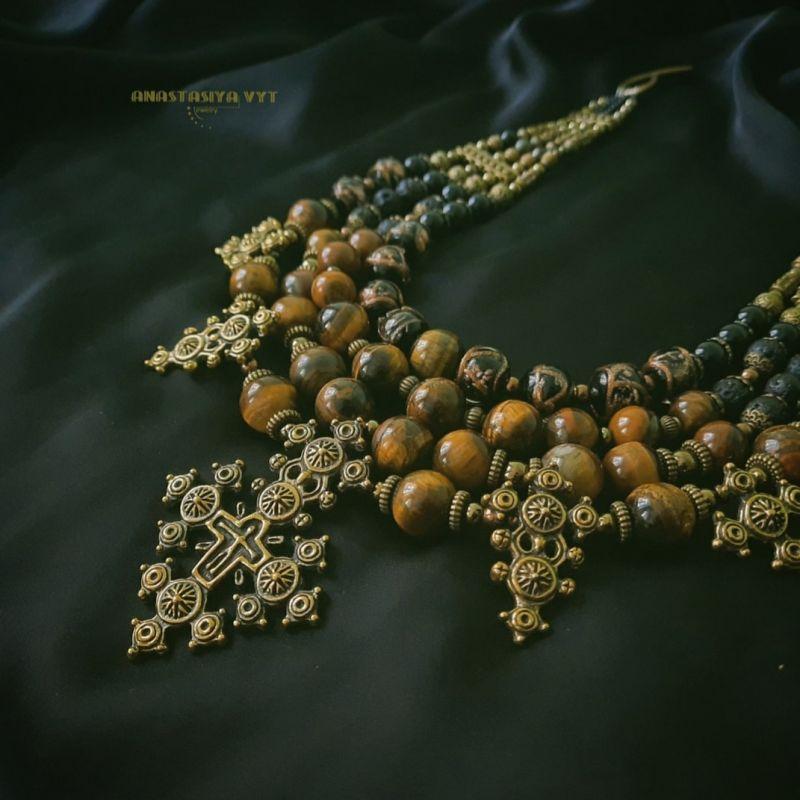 """Ожерелье """"Крематорий золото""""  тигровый глаз, агат, гема Вит Анастасия - фото 3"""