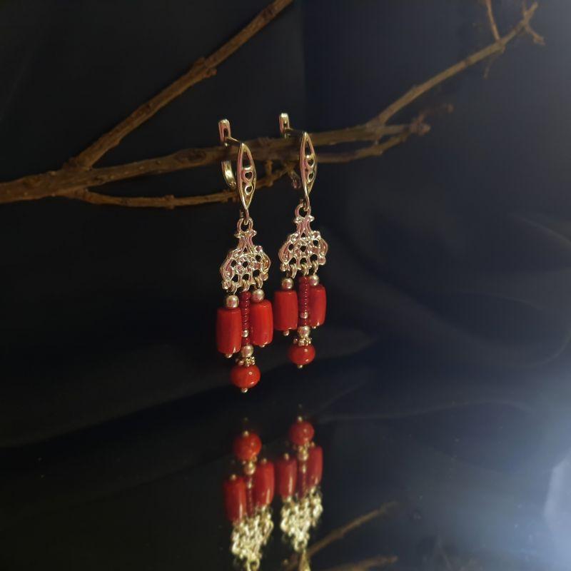 "Серебряные серёжки ""Кораллики""  серебро 925, коралл "" Вит Анастасия - фото 1"