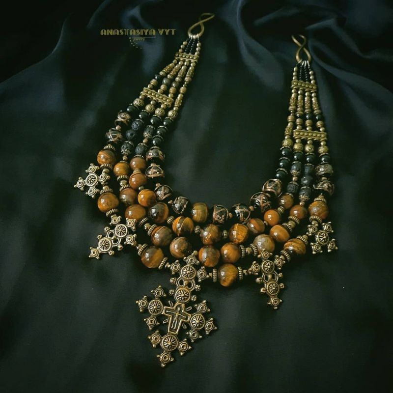 """Ожерелье """"Крематорий золото""""  тигровый глаз, агат, гема Вит Анастасия - фото 4"""