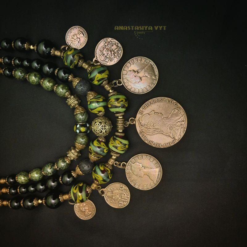 """Монисто """"Полесье"""" Зеленый змеевик, агат, гематит, с Вит Анастасия - фото 4"""