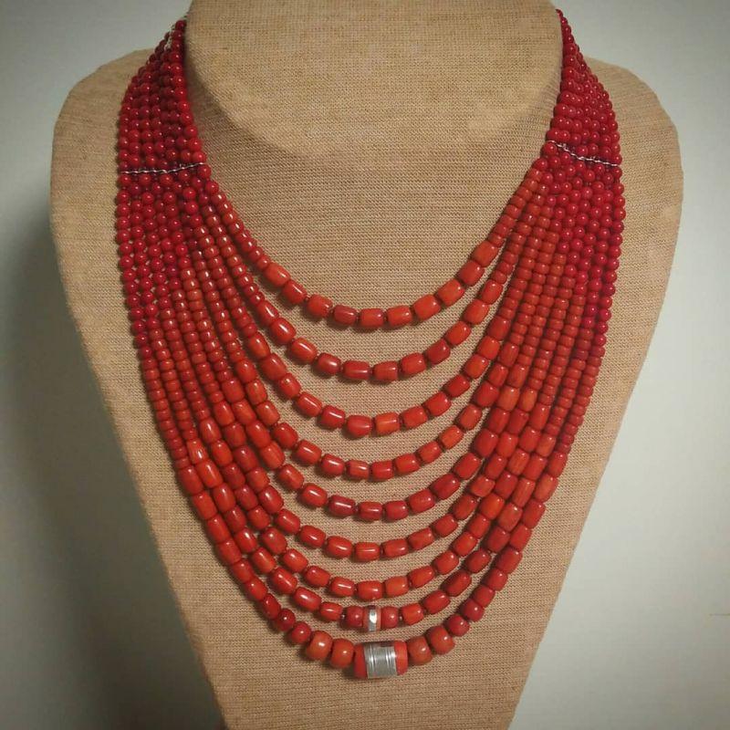 Ожерелье «Надднепряночка» и почребренный дукач (можно отдельно) Красный высококачественный коралл Вит Анастасия - фото 4