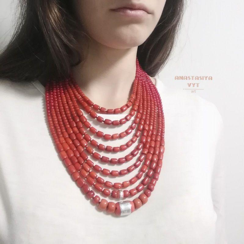 Ожерелье «Надднепряночка» и почребренный дукач (можно отдельно) Красный высококачественный коралл Вит Анастасия - фото 9
