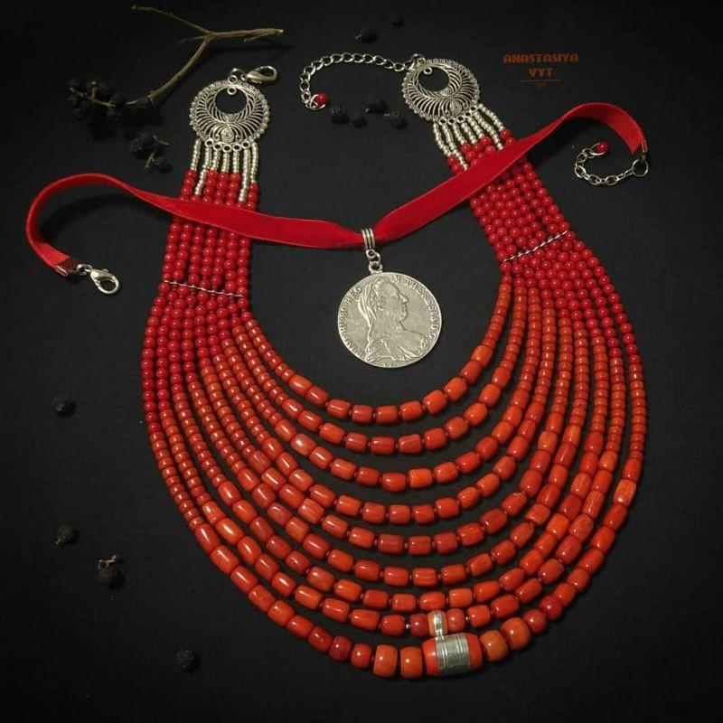 Ожерелье «Надднепряночка» и почребренный дукач (можно отдельно) Красный высококачественный коралл Вит Анастасия - фото 1