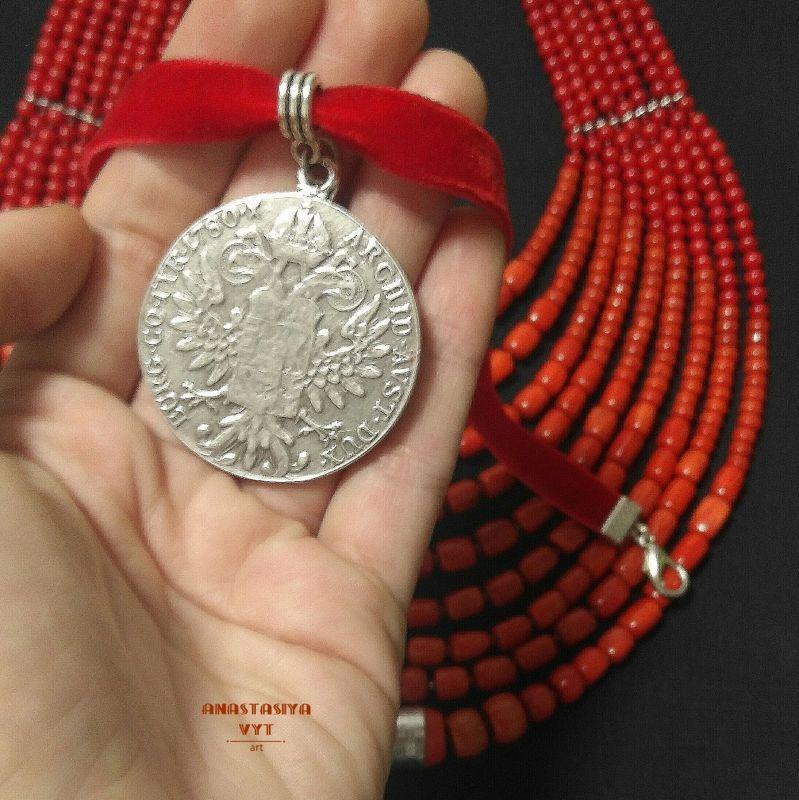 Ожерелье «Надднепряночка» и почребренный дукач (можно отдельно) Красный высококачественный коралл Вит Анастасия - фото 7