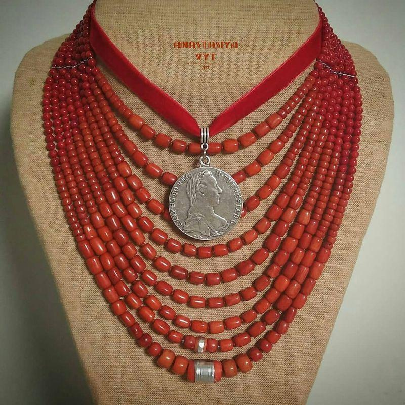 Ожерелье «Надднепряночка» и почребренный дукач (можно отдельно) Красный высококачественный коралл Вит Анастасия - фото 2