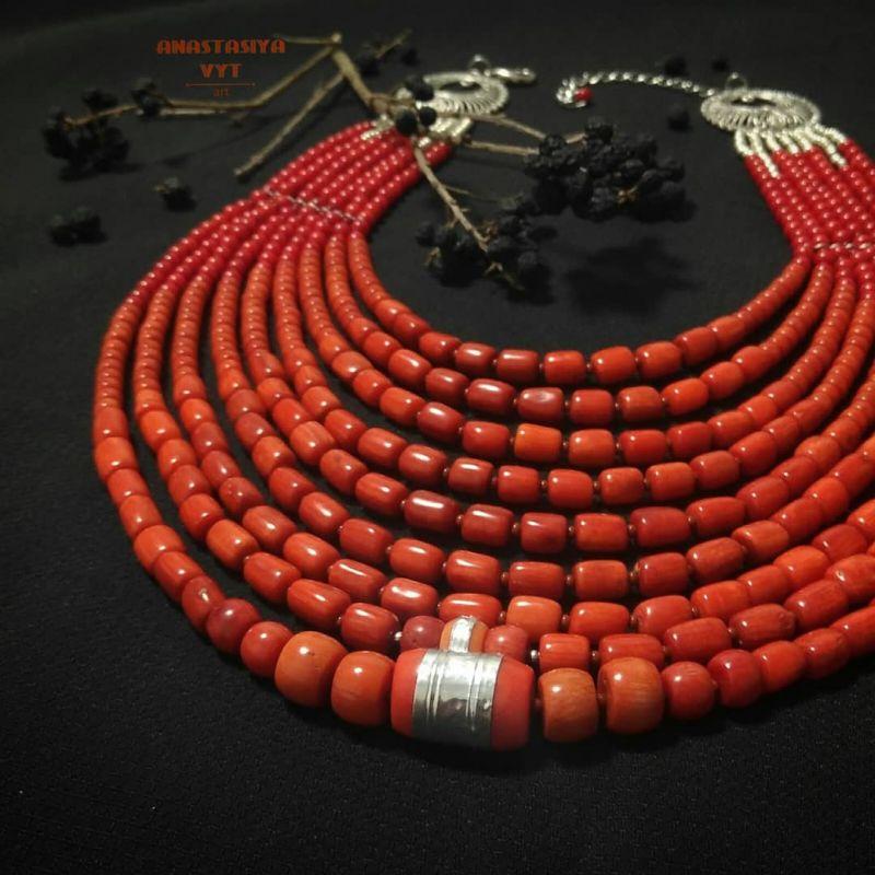 Ожерелье «Надднепряночка» и почребренный дукач (можно отдельно) Красный высококачественный коралл Вит Анастасия - фото 5