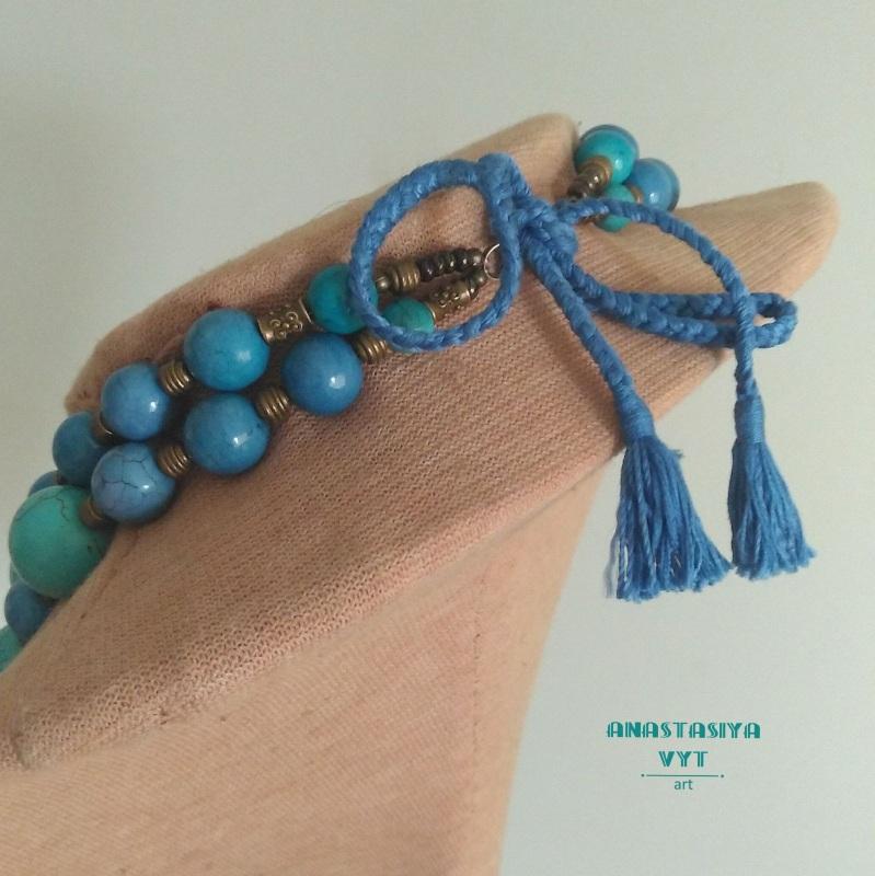 Ожерелье для пышной леди «Амулет» Бирюзовый бирюзовый магнезит, латун Вит Анастасия - фото 3