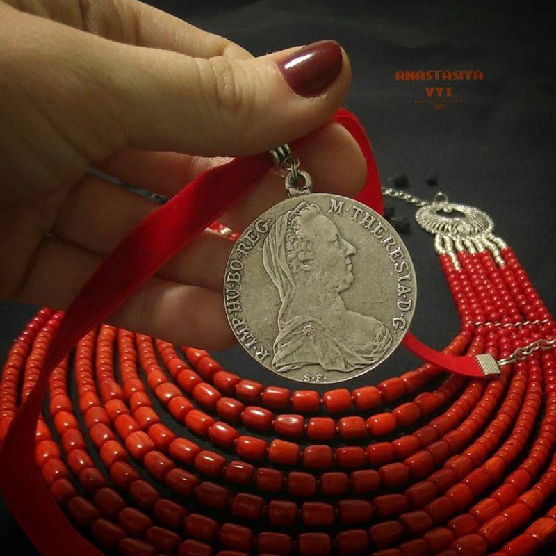 Ожерелье «Надднепряночка» и почребренный дукач (можно отдельно) Красный высококачественный коралл Вит Анастасия - фото 6