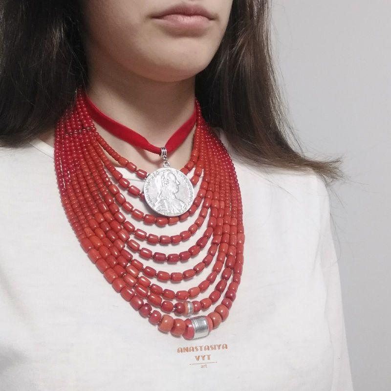 Ожерелье «Надднепряночка» и почребренный дукач (можно отдельно) Красный высококачественный коралл Вит Анастасия - фото 8
