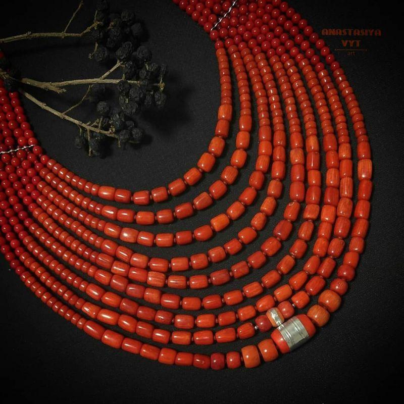 Ожерелье «Надднепряночка» и почребренный дукач (можно отдельно) Красный высококачественный коралл Вит Анастасия - фото 3
