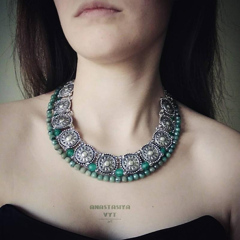 Ожерелье «Серебро с мхом» Зеленый зеленый варисцит, металл Вит Анастасия - фото 2