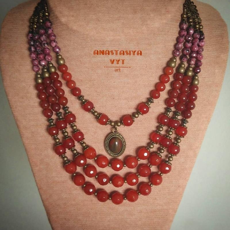 Ожерелье «С кабошоном» Красный сердолик, яшма, латунная Вит Анастасия - фото 2