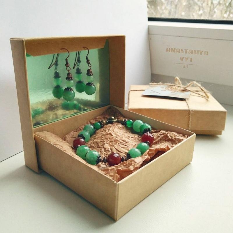 Подарочный набор «Темные ягоды»: серьги и браслет Зеленый моховой агат, рубеллит, м Вит Анастасия - фото 1