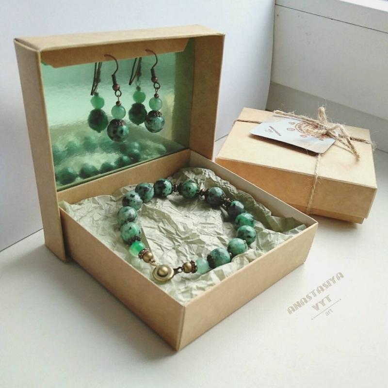 Подарочный набор «Эльфийка»: серьги и браслет Зеленый моховой агат, медь Вит Анастасия - фото 1