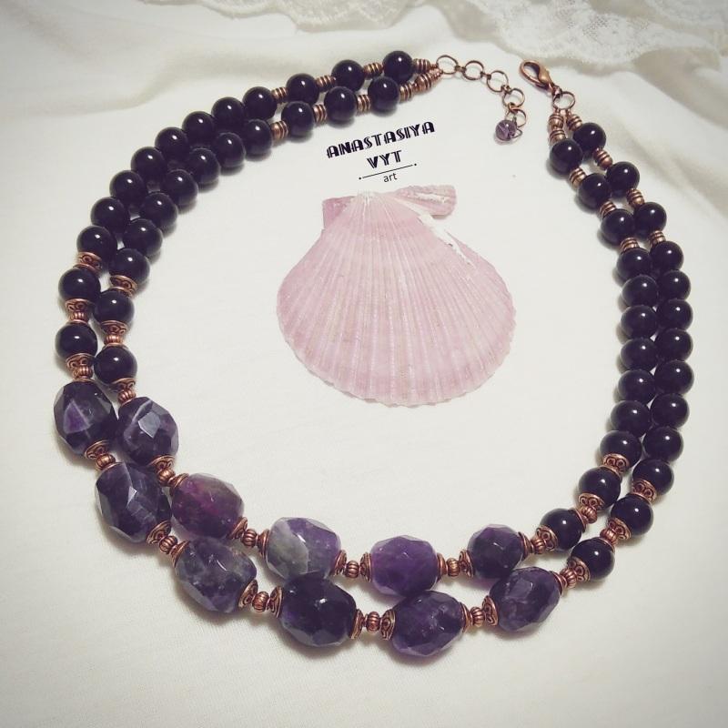 Ожерелье «Аметистовая симфония» Фиолетовый аметист, агат, медная фур Вит Анастасия - фото 1