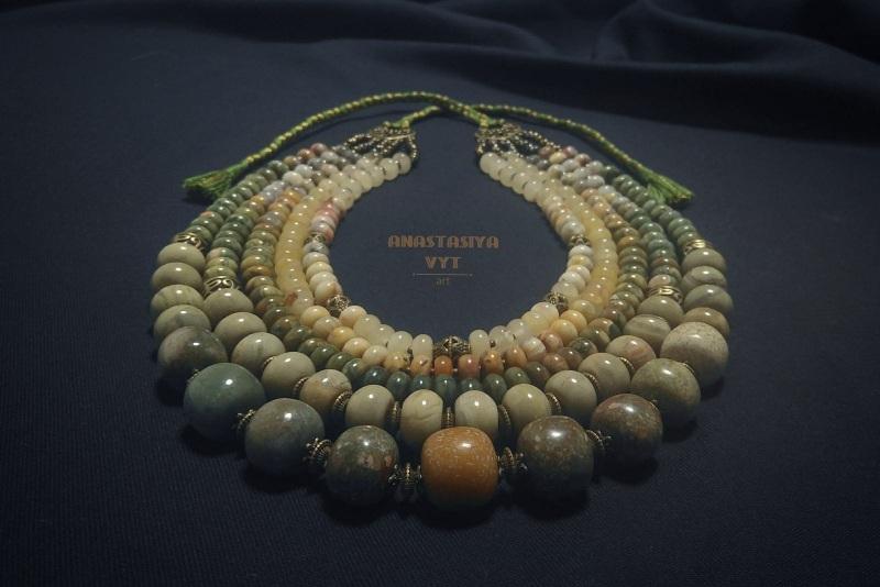Ожерелье из яшмы «Камни жизни»  зеленая яшма разных оттен Вит Анастасия - фото 4