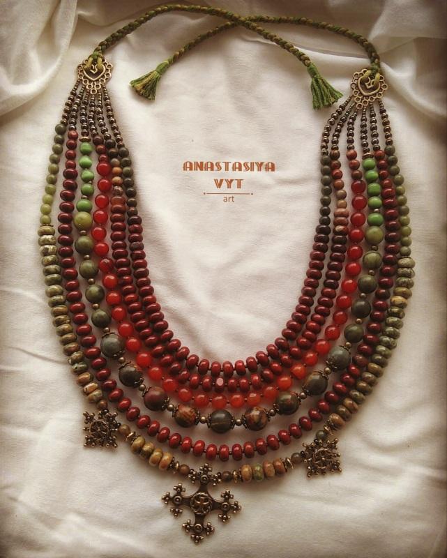 Ожерелье «Злагода»  яшма разных видов, сердол Вит Анастасия - фото 3