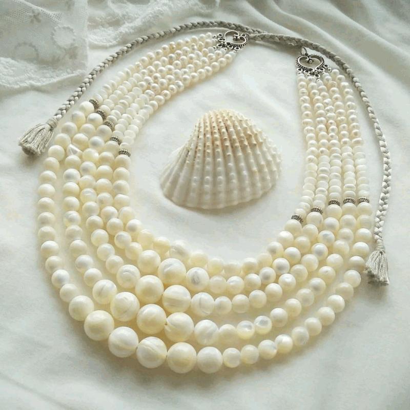 Ожерелье под заказ «Баламуты с кистями» Белый современный перламутр Вит Анастасия - фото 3