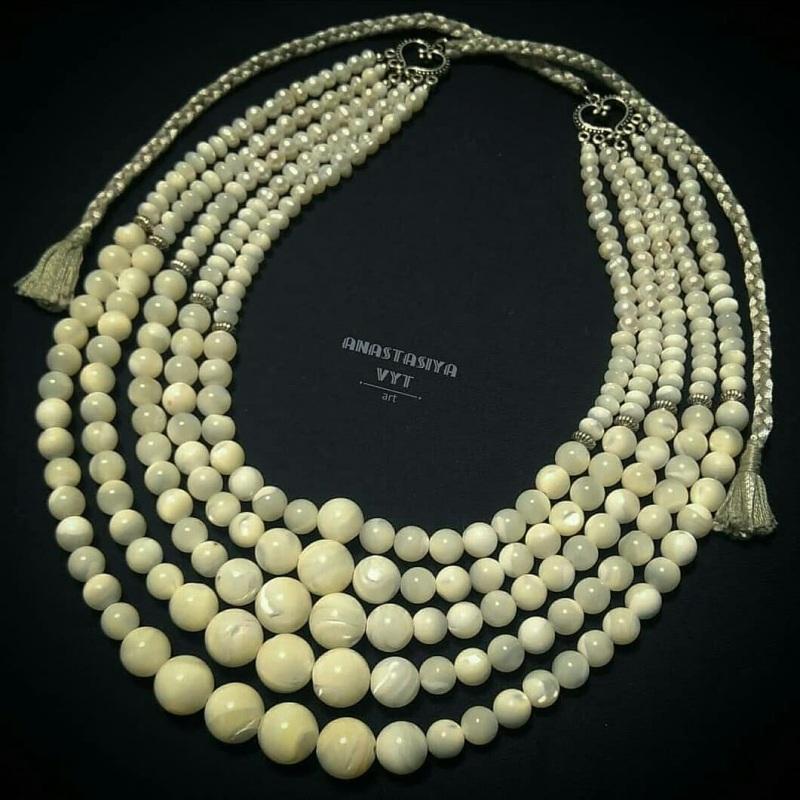 Ожерелье под заказ «Баламуты с кистями» Белый современный перламутр Вит Анастасия - фото 4