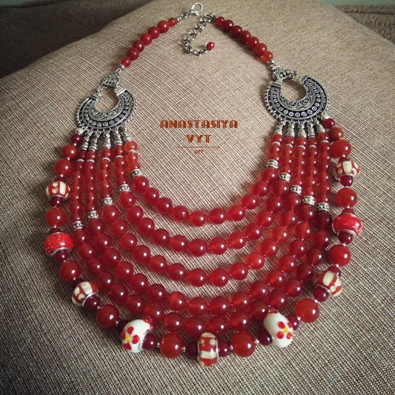 Ожерелье «Красные кораллы» Красный сердолик, стеклянные буси Вит Анастасия - фото 2