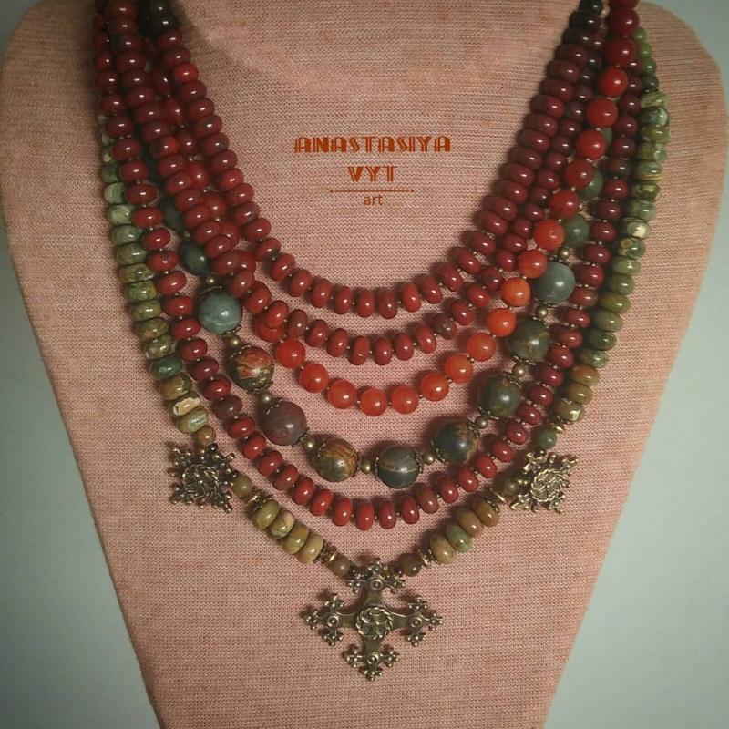 Ожерелье «Злагода»  яшма разных видов, сердол Вит Анастасия - фото 2