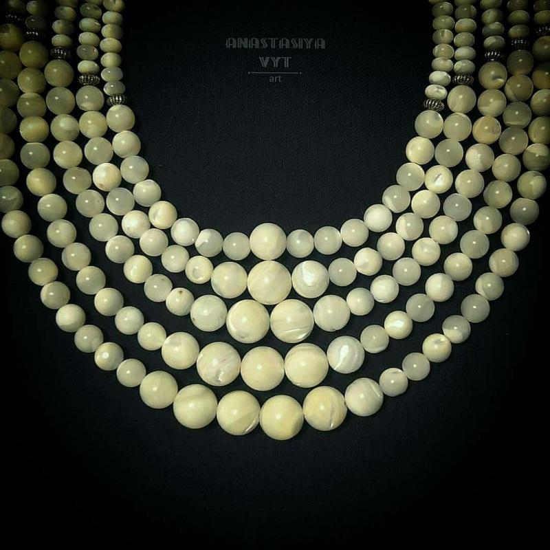 Ожерелье под заказ «Баламуты с кистями» Белый современный перламутр Вит Анастасия - фото 6