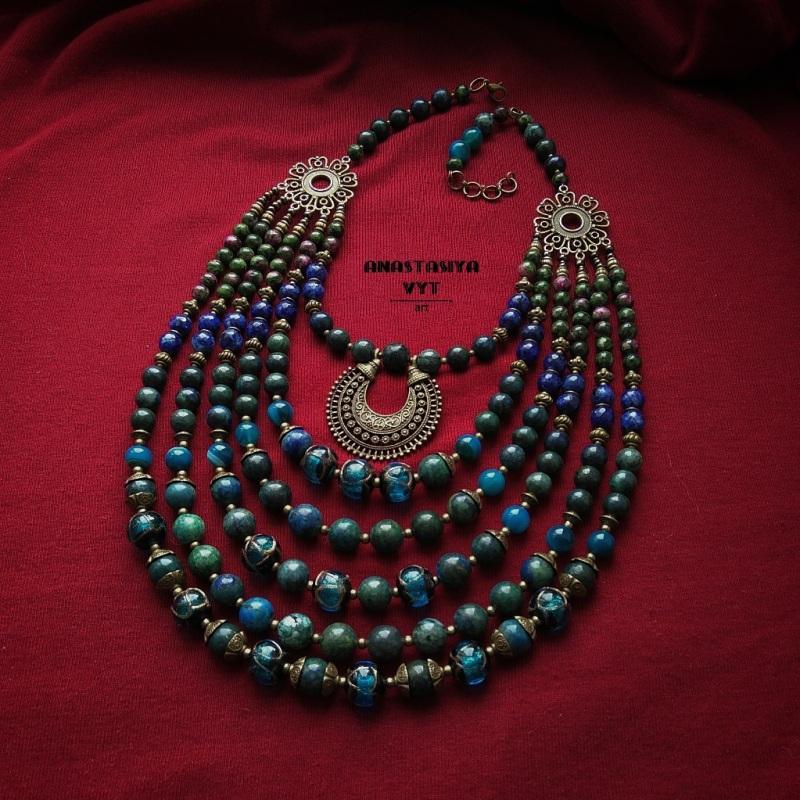 Ожерелье «Вечерняя лунница» Разноцветный варисцит, кианит, художес Вит Анастасия - фото 1