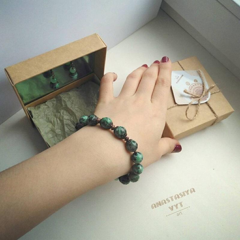 Подарочный набор «Эльфийка»: серьги и браслет Зеленый моховой агат, медь Вит Анастасия - фото 3