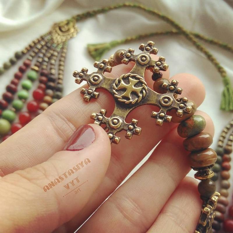 Ожерелье «Злагода»  яшма разных видов, сердол Вит Анастасия - фото 5