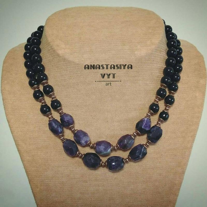Ожерелье «Аметистовая симфония» Фиолетовый аметист, агат, медная фур Вит Анастасия - фото 2