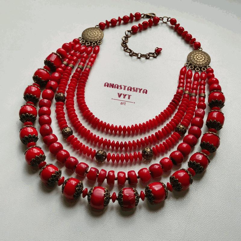 Бусы «Чар-зелье» Красный настоящий коралл, латунь Вит Анастасия - фото 1