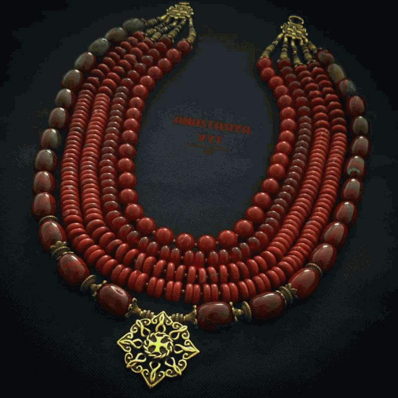 Кораллы из яшмы «Звездочка небесная»  яшма, сердолик, авторская Вит Анастасия - фото 1