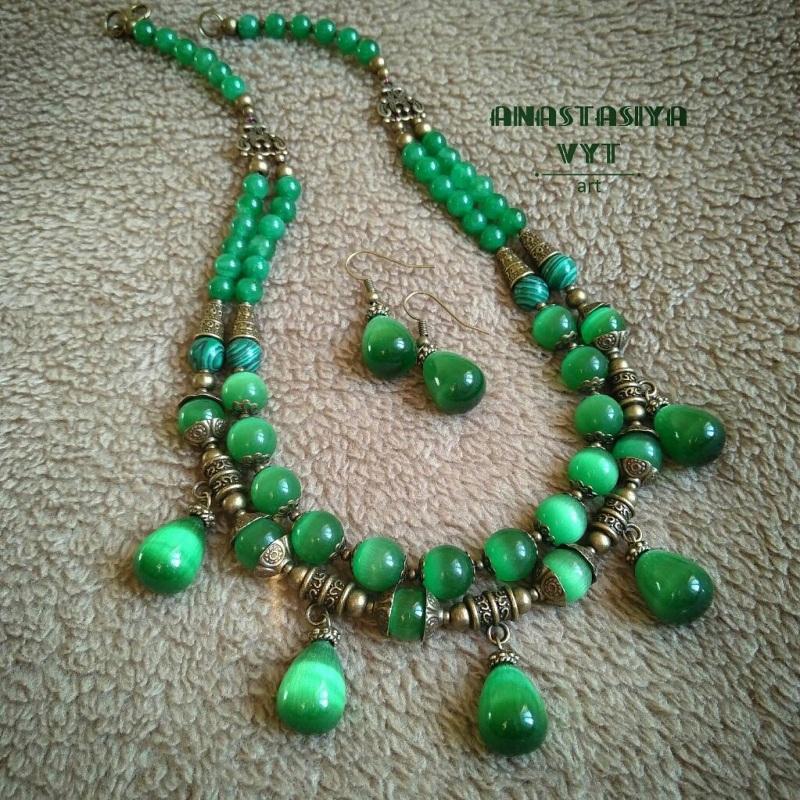 Ожерелье и серьги «Карпатские долины» Зеленый Кошачий глаз, латунная фу Вит Анастасия - фото 4
