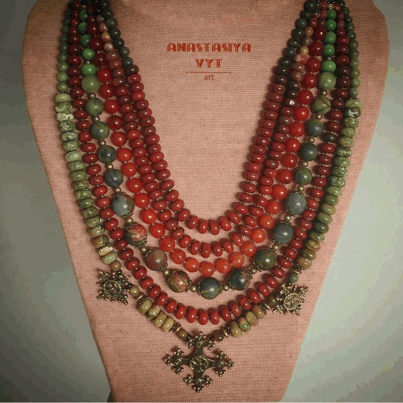 Ожерелье «Злагода»  яшма разных видов, сердол Вит Анастасия - фото 4