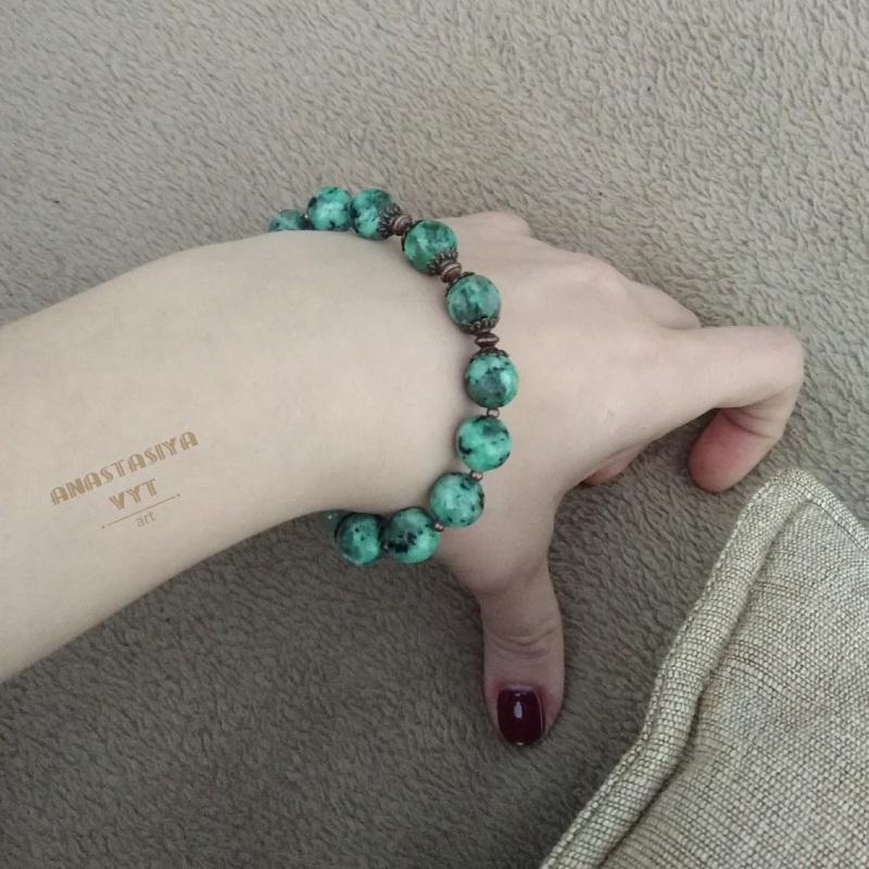 Подарочный набор «Эльфийка»: серьги и браслет Зеленый моховой агат, медь Вит Анастасия - фото 2