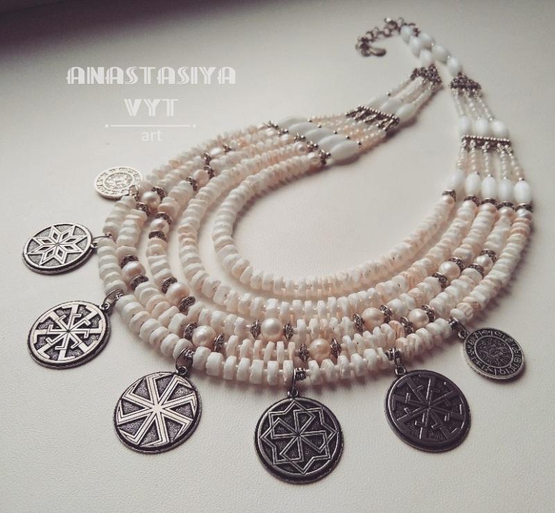 Ожерелье «Метель»  Белый коралл, жемчуг, кош Вит Анастасия - фото 1