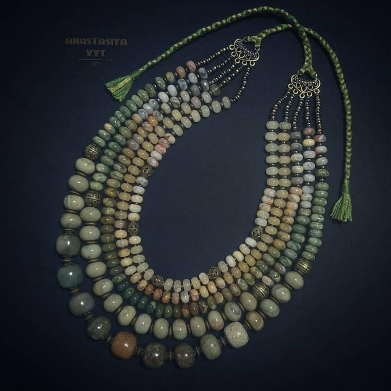 Ожерелье из яшмы «Камни жизни»  зеленая яшма разных оттен Вит Анастасия - фото 2