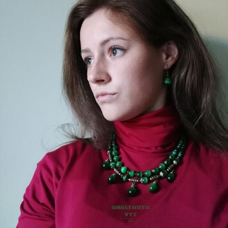 Ожерелье и серьги «Карпатские долины» Зеленый Кошачий глаз, латунная фу Вит Анастасия - фото 2