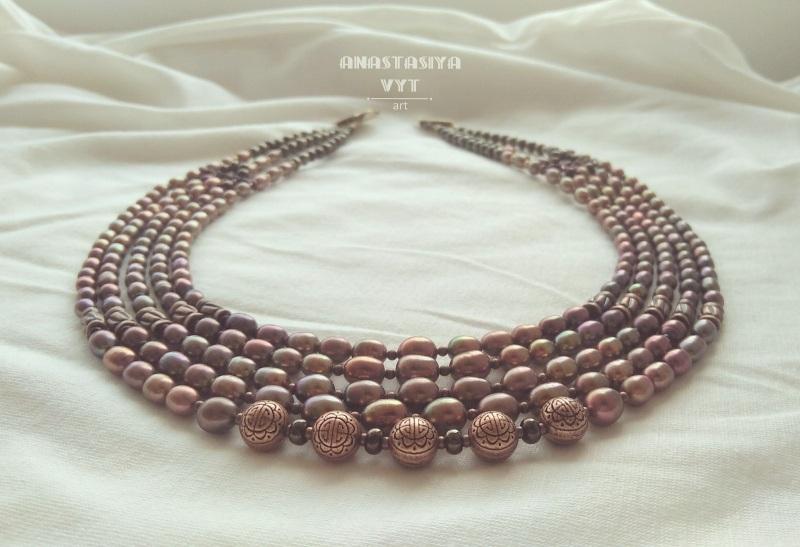 Колье «Розовая роскошь» Розовый натуральный розовый жемчу Вит Анастасия - фото 2
