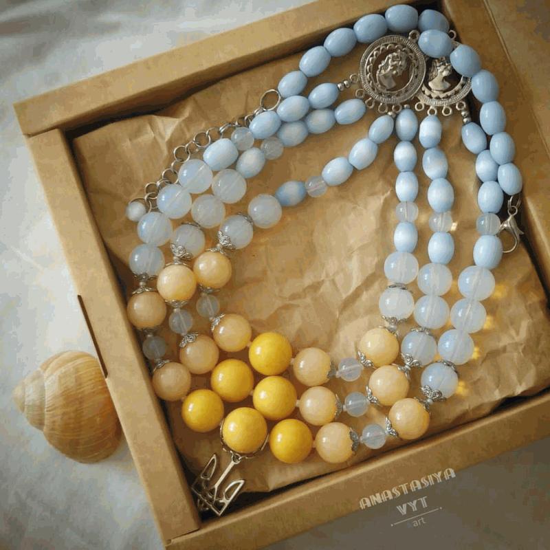 Намисто «Білява україночка» Блакитний онікс, котяче око, місячн Вит Анастасія - фото 3